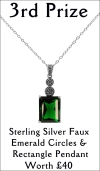 Sterling Silver Faux Emerald Circles & Rectangle Pendant